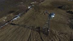 4k aerial windmill closeup - stock footage