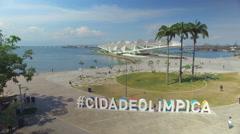 Aerial view jib shot of Olympic City, Rio de Janeiro Brazil. Stock Footage