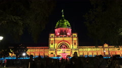 Royal exhibition building white night time-lapse Stock Footage