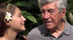 Teen Girl Talking To Grandfather Stock Footage