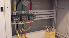 Power cable in the electrical cabinet Stock Footage