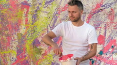 Creating Colorful Murals Stock Footage
