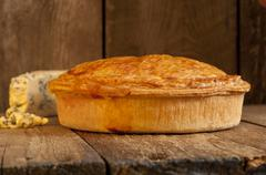 Whole Meat Pie with Blue Cheese - stock photo