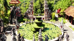 Brahma Vihara Arama Buddhist Monastery courtyard,Bali Stock Footage