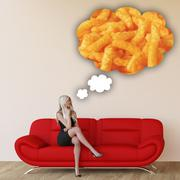 Woman Craving Junk Food - stock illustration