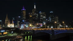 Melbourne white night cityscape time-lapse Stock Footage