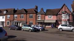 Lavenham England market village center pan 4K Stock Footage