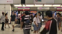 At the metro station,Mass Rapid Transit Singapore Stock Footage