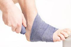 Foot ankle bandage Stock Photos