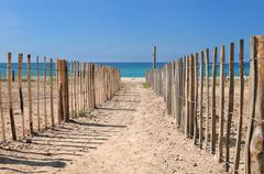 footpath between fence - stock photo