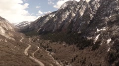 Stock Video Footage of Aerial View of Little Cottonwood Canyon in Utah, Panning