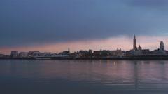 pan of antwerp skyline at sunset - stock footage