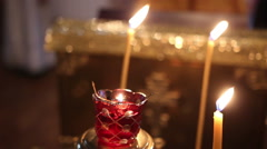 The candle flame in Orthodox church Stock Footage