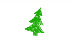 christmas tree painted with chalk, hand drawn animation 4K - stock footage