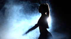 Power karate techniques. Black. Silhouette. Backlight Stock Footage