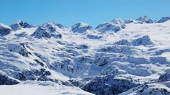 White snow-covered mountains in Italy. Rutor glacier. Stock Footage