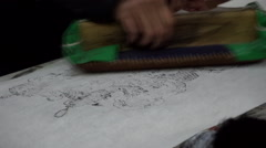 craftsman making woodcut Yangliuqing New Year Picture - stock footage