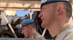 British-UK UN-United Nations peacekeeping forces patrol in Cyprus - stock footage