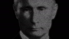 Vladimir Putin Russian Prime Minister Face Animation Stock Footage