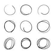 Circle template Hand Drawn Simple Set Stock Illustration