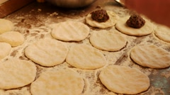 Preparing pies with meat. Flour, dough and meat Stock Footage