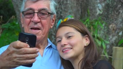 Grandfather Selfie With Teen Girl Stock Footage