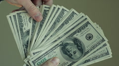 Closeup Male Hands Count Hundred Dollar Bills Stock Footage