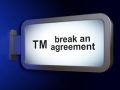 Stock Illustration of Law concept: Break An Agreement and Trademark on billboard background
