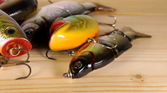 Spinning bait for fishing. Stock Footage