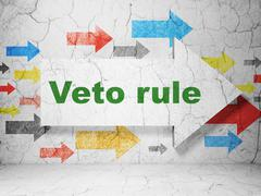Politics concept: arrow with Veto Rule on grunge wall background - stock illustration