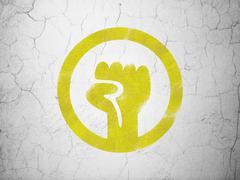 Politics concept: Uprising on wall background - stock illustration
