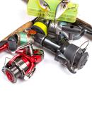 frame from different fishing tackles - stock photo