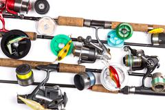 composition from different fishing tackles - stock photo