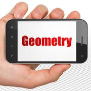 Studying concept: Hand Holding Smartphone with Geometry on display - stock illustration