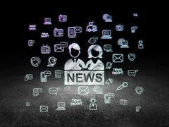 News concept: Anchorman in grunge dark room - stock illustration