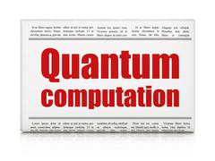 Science concept: newspaper headline Quantum Computation Stock Illustration