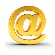 The Email symbol as a polished golden object with clipping path Stock Illustration