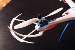 Close-up of the rotor unmanned aircraft propeller blade quadrocopter Stock Photos