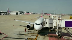 The plane at the airport on loading Stock Footage