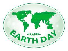 earth day green grunge map banner vector illustration - stock illustration