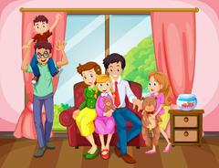 Family members in the living room Stock Illustration