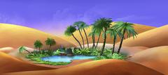 Oasis in a Desert - stock illustration