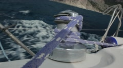 Steel Capstan on the Deck of Sailing Yacht. 4k Stock Footage