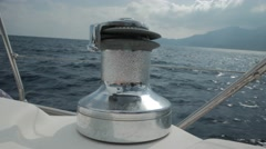 Winch on Sailing Boat in the Sea. 4k - stock footage