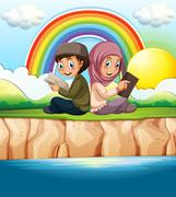 Muslim boy and girl reading book Stock Illustration