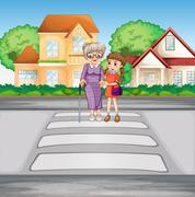 Grandmother and kid crossing the road Stock Illustration
