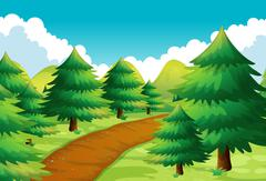 Nature scene with track and pine trees Stock Illustration