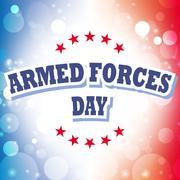 armed forces day banner on celebration background - stock illustration