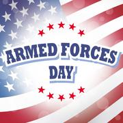 Armed forces day banner with american flag background Stock Illustration