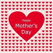 Happy mothers day love letter with red heart Stock Illustration